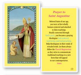 St. Augustine Prayer Laminated Holy Card