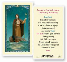 St. Brendan Prayer Laminated Holy Card