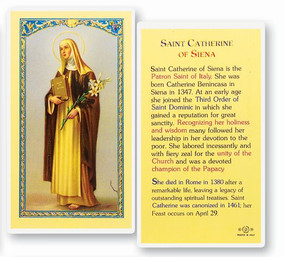 St. Catherine of Siena Laminated Holy Card