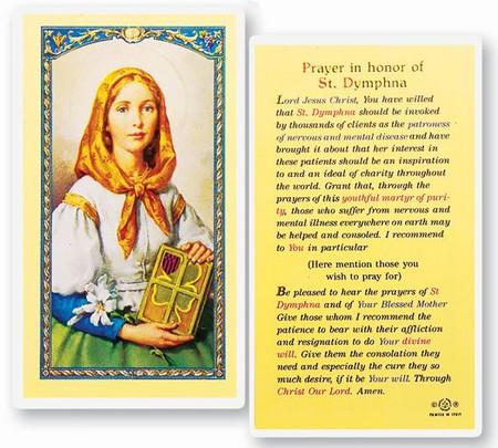 St. Dymphna Prayer Laminated Holy Card