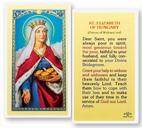 St. Elizabeth of Hungary Patron of Widows/ers Prayer Laminated Holy Card