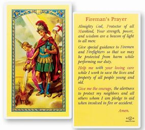 St. Florian Firefighter's Prayer Laminated Holy Card