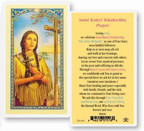 St. Kateri Tekakwitha Laminated Holy Card
