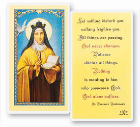 St. Teresa of Avila's Bookmark Laminated Holy Card