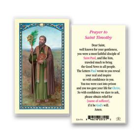 St. Timothy Prayer Laminated Holy Card