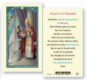 St. Valentine Prayer Laminated Holy Card