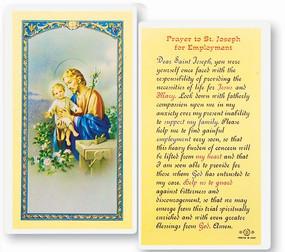 St. Joseph Prayer for Employment Laminated Holy Card