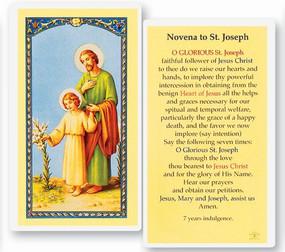 St. Joseph Novena Laminated Holy Card
