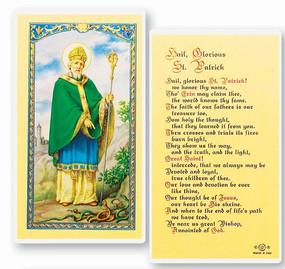 St. Patrick Hail Glorious Laminated Holy Card