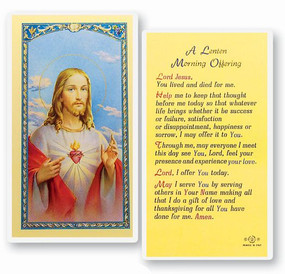Lenten Morning Offering Laminated Holy Card