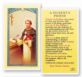 St. Thomas Aquinas Student's Prayer Laminated Holy Card
