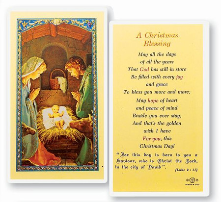Christmas Blessing Laminated Holy Card