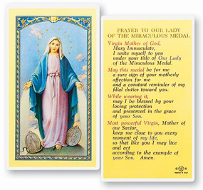 Our Lady of the Miraculous Medal Prayer Laminated Holy Card