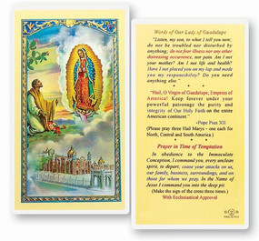 Our Lady of Guadalupe Words Laminated Holy Card