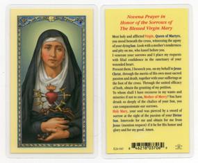 Seven Sorrows Laminated Holy Card