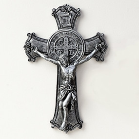 "St. Benedict Crucifix with Silver Finish (10.25"")"