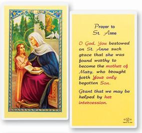 St. Anne Prayer Laminated Holy Card (E24-611)