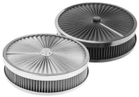 """PROFLOW Round Flow Top Air Cleaner 14x3"""" STAINLESS"""