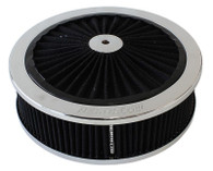 "AEROFLOW Chrome Full-Flow Air Filter Assembly - 9"" x 3"", 5-1/8"" Neck, Cleanable"