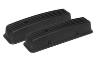 "PROFLOW Rocker Covers Black Finned - Chevrolet Small Block - 4"" Tall"