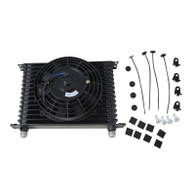 "TLG 15 ROW AN-10 Oil Cooler - Black with 7"" Electric Fan Kit"