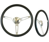 "SAAS Classic Steering Wheel - 50mm Dish 15"" Polished Aluminium w/Slots"