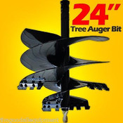 "24"" Tree Auger Bit for Skid Steer Loaders,Fits All 2.56 Round Auger Drives"