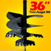 "36"" Skid Steer Tree Auger Bit Skid Steers,48"" L,Uses 2"" Hex Drive,McMillen,USA"