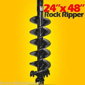"24""x48"" Rock Ripper Auger Bit For Skid Steers w/ 2"" Hex Drive,Digs Frozen Dirt"