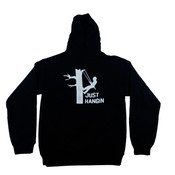 """Black Hooded Sweatshirt W/ Front Pocket and """"Just Hangin"""" Graphic on Back"""