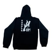 "Black Hooded Sweatshirt W/ Front Pocket and ""Saddle Up"" Graphic on Back"