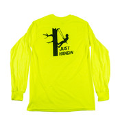 """Long Sleeve Safety Green Shirt with """"Just Hangin"""" Graphic on Back"""