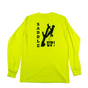 """Long Sleeve Safety Green Shirt with """"Saddle Up"""" Graphic on Back"""