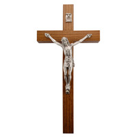 "(81-35) 6"" WALNUT CRUCIFIX SIL CORPUS"