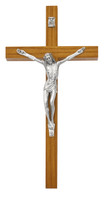 "(81-37) 8"" WALNUT CRUCIFIX SIL CORPUS"