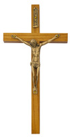 "(81-38) 8"" WALNUT CRUCIFIX GOLD CORPUS"