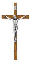 "(81-39) 10"" WALNUT CRUCIFIX SIL CORPUS"