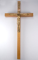 "(81-51) 10"" WALNUT CRUCIFIX GLD CORPUS"