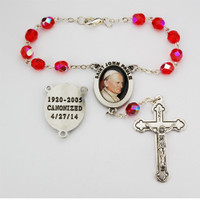 (AR59C) RED ST JOHN PAUL AUTO ROSARY