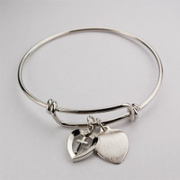 (BN419L) ADULT HEART/CROSS PEWTER