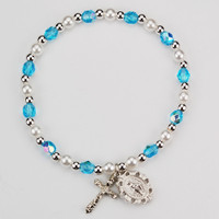 (BR349-AQ) YOUTH AQUA STRETCH BRACELET