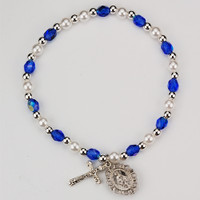 (BR349-BLC) YOUTH BLUE STRETCH BRACELET