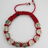 (BR508C) RED  ST. BENEDICT CORD BRACEL