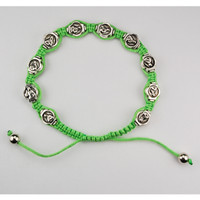 (BR519C) GREEN GUADALUPE CORD BRACEL