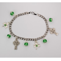 (BR650CS) GREEN IRISH CHARM BRACELET