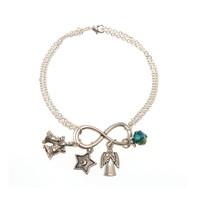 (BR660C) BELLS, STAR AND ANGEL BRACELE