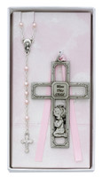 (BS45) PEWT GIRL CROSS & ROSARY SET