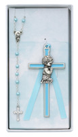 (BS49) BOY'S CROSS & ROSARY SET