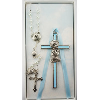 (BS52) BLUE BOY CROSS & SHELL ROSARY
