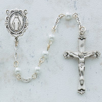 (C18RW) 5MM WHITE PEARL ROSARY